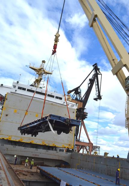 Descarga de vagones de la empresa Potasio Río Colorado S.A.
